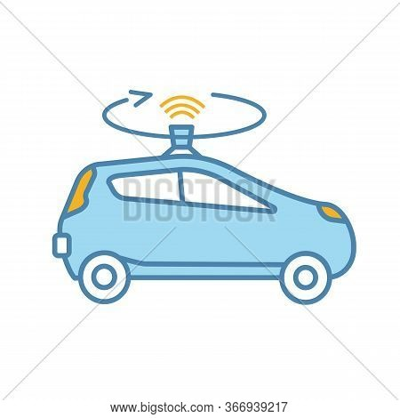 Autonomous Car With Lidar Color Icon. Smart Car With Roof Sensor Or Camera. Intelligent Auto With Au