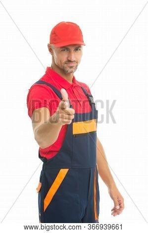 Man Wear Working Overall. Handsome Worker In Uniform. Building Engineer Pointing Finger. Mature Skil