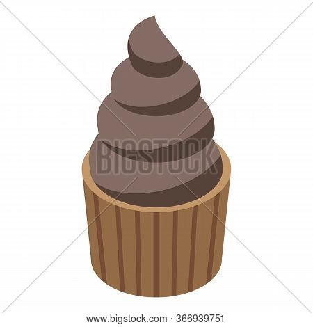 Chocolate Cupcake Icon. Isometric Of Chocolate Cupcake Vector Icon For Web Design Isolated On White