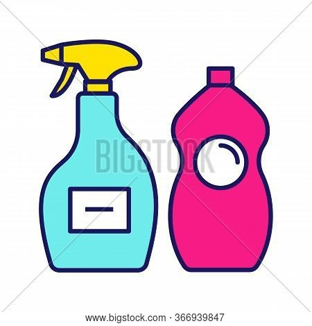 Cleaning Chemicals Color Icon. Window Cleaner, Dishwash Liquid. Cleaning Products For Bathroom, Kitc
