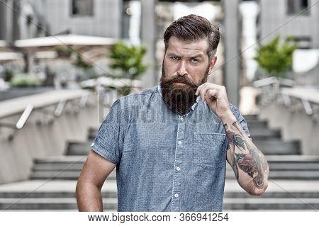 Bearded And Brutal. Bearded Man Urban Outdoor. Hipster With Bearded Look. Shaving Salon. Beard Barbe