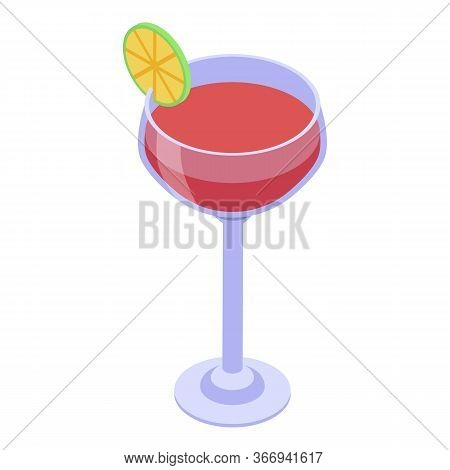 Red Margarita Cocktail Icon. Isometric Of Red Margarita Cocktail Vector Icon For Web Design Isolated