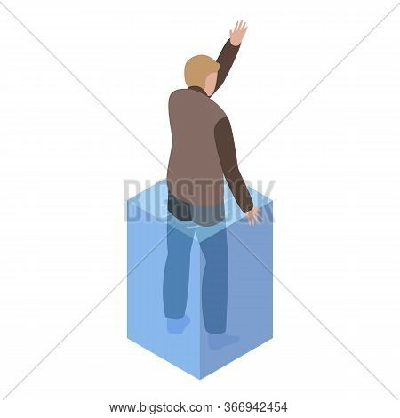 Man In Flood Need Help Icon. Isometric Of Man In Flood Need Help Vector Icon For Web Design Isolated