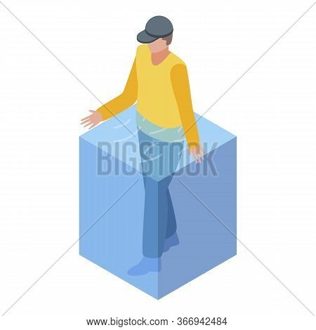 Man Home Flood Disaster Icon. Isometric Of Man Home Flood Disaster Vector Icon For Web Design Isolat