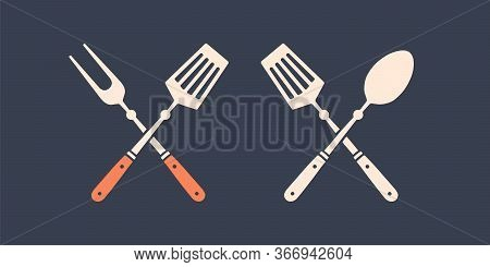 Set Of Grill Tools. Silhouette Two Bbq Tools, Grill Fork, Spatula. Logo Template For Meat Business -