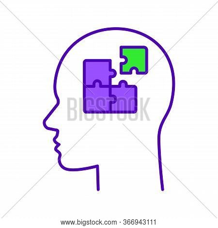 Solution Color Icon. Solve Problem. Thinking Process. Find Solution. Resolve Issue. Insight. Head Wi