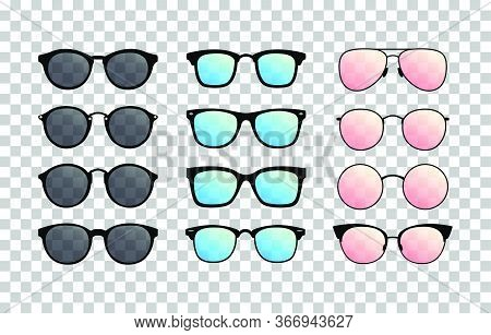 Set Of Sunglasses On The Transparent Background. Summer Glasses. Gradient Glasses. Vector