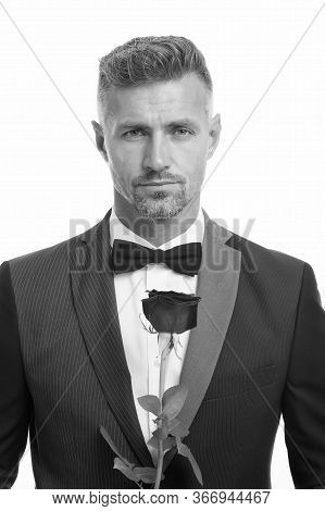 Will You Marry Me. Valentine Day Greeting. Handsome Man Black Suit. Man On Love Date. Black Tie For