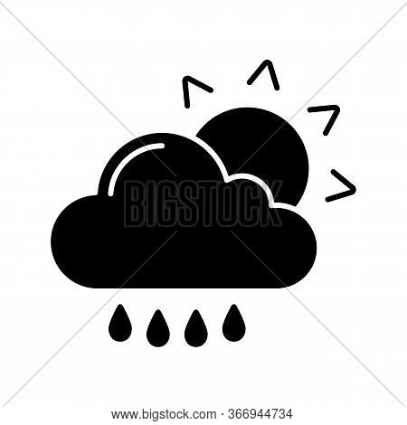 Rain With Sun Glyph Icon. Sunny And Rainy Weather. Light Rain. Drizzle, Scattered Shower. Cloud, Sun