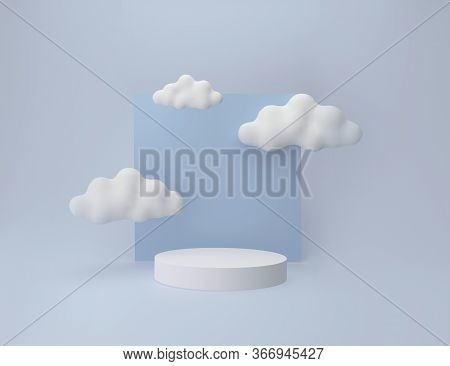 3d White Pedestal Display With Cloud Shapes. Podium Over Light Blue Pastel Background For Products P