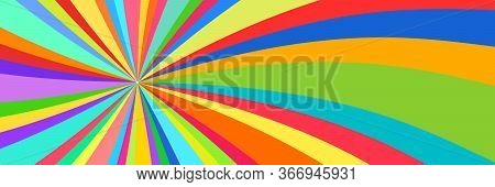 Kaleidoscope Banner, Abstract Background, Sun Of Colored Ribbons, Colorful Rays, Star Burst, Vector