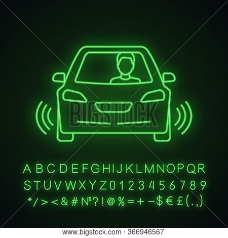 Autonomous Car With Partial Automation Neon Light Icon. Smart Car With Ultrasonic, Odometry Sensors