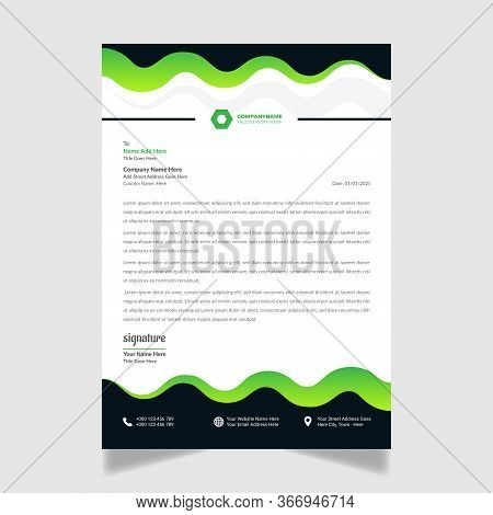Modern Business Letterhead Design Template For Your Corporate Business.set To Print, Vector