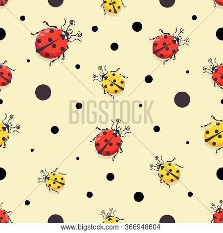 Ladybird. Vector Cartoon Character Pattern, Background. Cute Red And Yellow Ladybugs On A Light Back