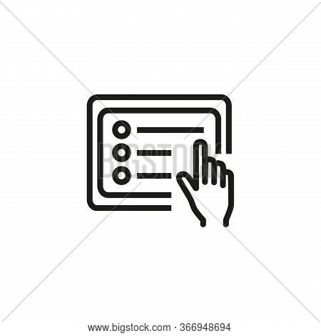 Icon Of Generating Document. Using Tablet, Editing File, Organizer. Technology Concept. Can Be Used
