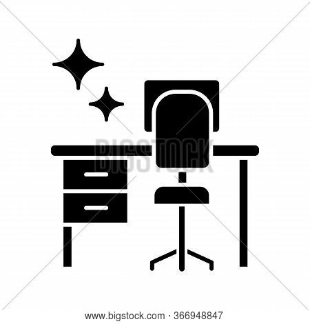 Cleaning Table Desk Glyph Icon. Silhouette Symbol. Keeping Workplace Clean. Tidy Home Or Office Desk