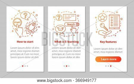 E-learning Onboarding Mobile App Page Screen With Linear Concepts. Education Walkthrough Steps Graph