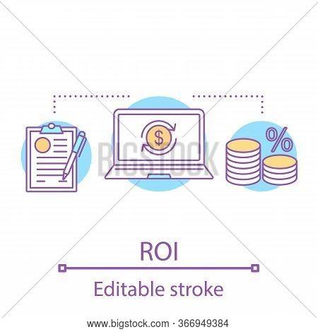 Roi Concept Icon. Return On Investment. Financial Management Idea Thin Line Illustration. Interest R