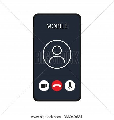 Call Template Screen Video Chat In Flat Style. Isolated Vector