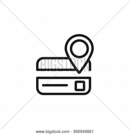 Line Icon Of Letter With Location Pointer. Mail Address, Bank Address, Terminal Pointer. Location Co