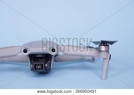 Closeup View Of Dji Mavic Air 2 Model 2020 Drone On Blue Background Quadcopter With 4k Hdr Video Hdr