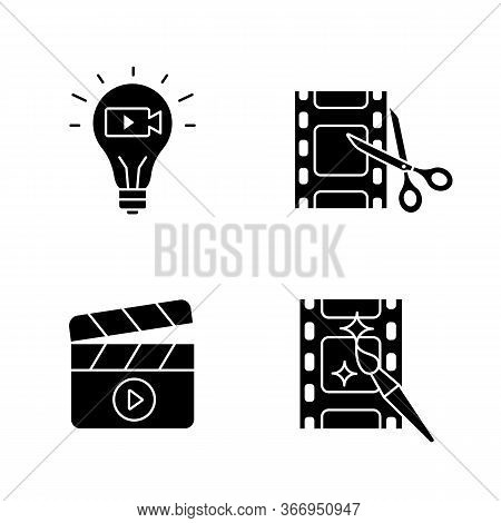 Film Industry Glyph Icons Set. Movie Idea, Video Cutting And Editing, Filmmaking. Silhouette Symbols