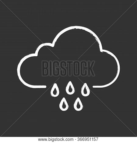 Rain Chalk Icon. Pour Rain. Rainy Weather. Cloudburst, Downpour. Weather Forecast. Isolated Vector C