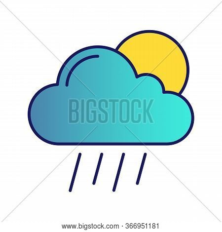 Scattered Shower Color Icon. Rainy And Sunny Weather. Cloud, Sun And Rain. Downpour, Cloudburst. Wea