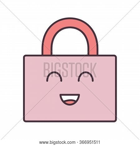 Smiling Padlock Color Icon. Reliable Password. Protection, Security. Easy Safety. Happy Padlock. Emo
