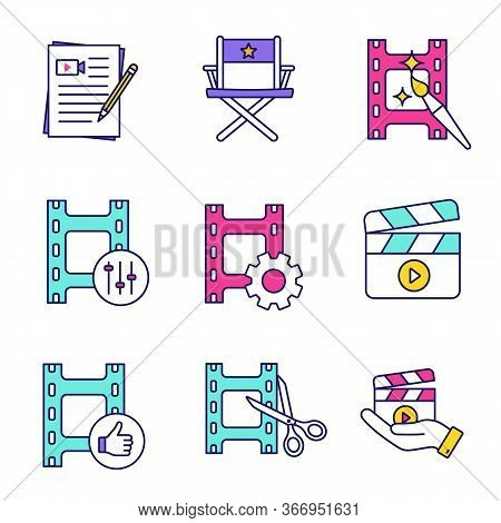 Film Industry Color Icons Set. Movie Scripts, Director S Chair, Video Editing, Sound Mixer, Settings
