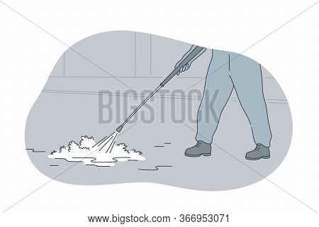 Desinfection, Contamination, Protection, Coronavirus Concept. Man Worker Cartoon Character Doing Str