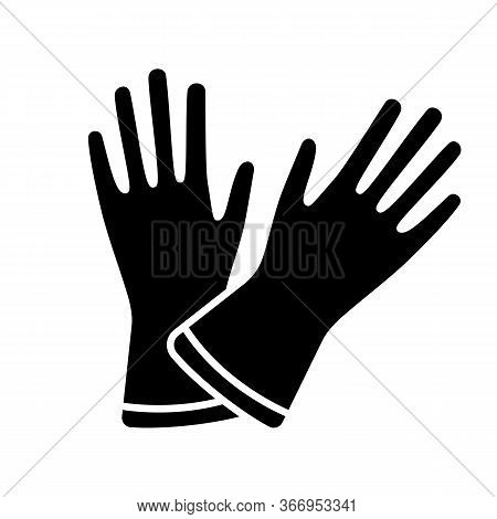 Household Gloves Glyph Icon. Silhouette Symbol. Medical Latex Gloves. Negative Space. Vector Isolate