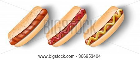 Grilled Hot Dog With Mustard And Ketchup Isolated On White. Hot Dog For Poster, Menu Or Brochure. Un