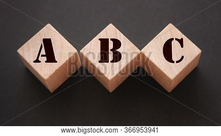 Abc Three Wooden Cubes With Letters. Back To Basics Elementary School Concept