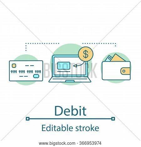Debit Concept Icon. Credit Card. Digital Wallet Idea Thin Line Illustration. Internet Banking. E-pay