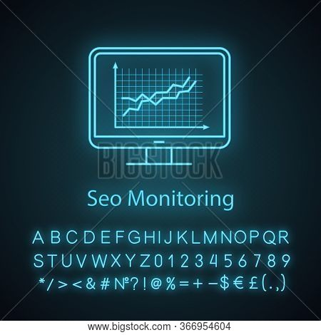 Website Ranking Neon Light Icon. Seo Monitoring. Smm, Seo Statistics. Marketing Analytics. Data Anal