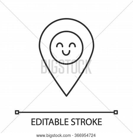 Smiling Map Pin Character Linear Icon. Easy Gps Navigation. Thin Line Illustration. Happy Map Pinpoi