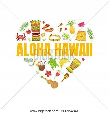 Aloha Hawaii Travel Banner Template With Travelling Sights And Symbols Pattern Of Heart Shape, Hawai