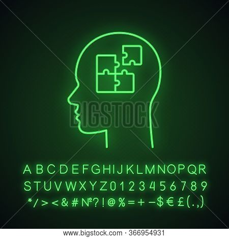 Solution Neon Light Icon. Solve Problem. Thinking Process. Find Solution. Resolve Issue. Insight. He