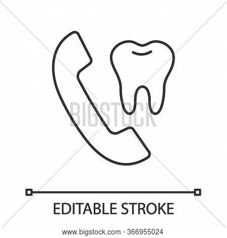 Dentist Appointment Linear Icon. Calling To Dental Clinic. Thin Line Illustration. Handset With Toot