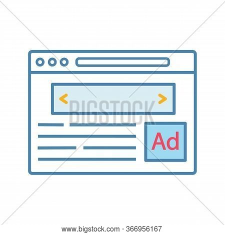 Internet Marketing Color Icon. Display Ads. Contextual Advertising. Online Targeted Advertising. Nat