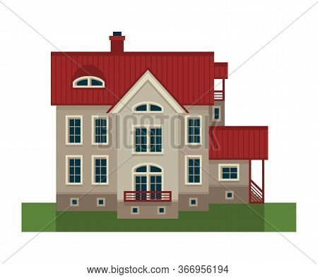 Vector Illustration. Country House, Mansion, Villa, Ranch, Estate, Manor.