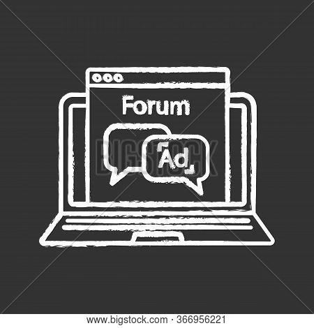 Advertising Forum Chalk Icon. Internet Marketing. Chatbot Ads. Advertising Notification. Thin Line I