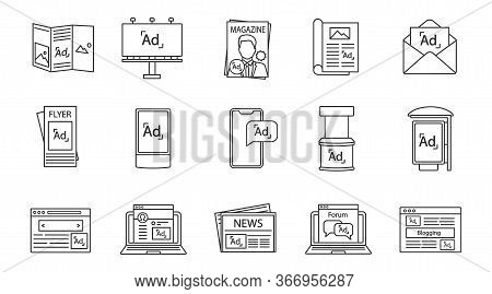Advertising Channels Linear Icons Set. Printing Media. Outdoor Advertising. Flyers, Brochures, Billb