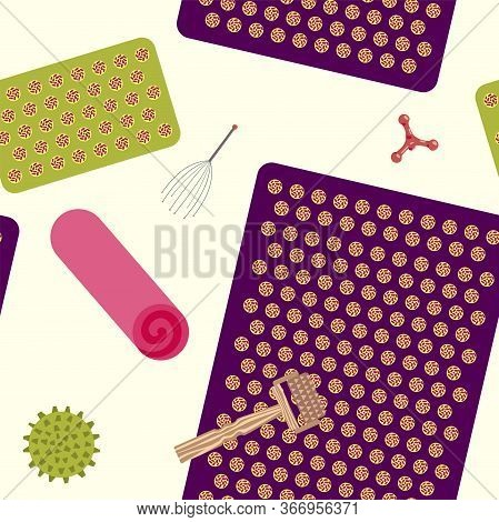 Seamless Pattern With Attributes For Massage And Self-massage. Vector Illustration.