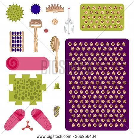 A Set Of Massagers And Applicators For Massage And Self-massage. Vector Illustration.