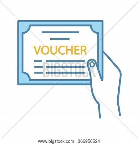 Voucher Color Icon. Accounting And Payment Document. Financial Documentation. Hand Holding Accountin