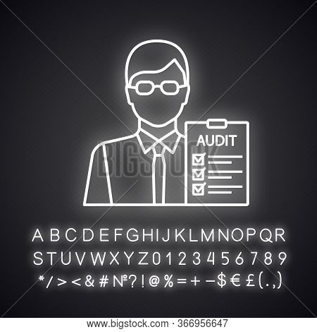 Auditor Neon Light Icon. Financial Inspection. Assurance Service. Auditing. Bookkeeper, Accountant.