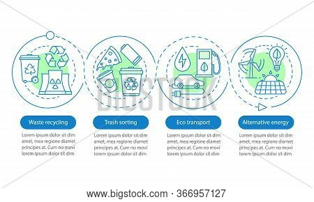 Environment Protection Vector Infographic Template. Trash Sorting, Waste Recycling, Eco Transport. D