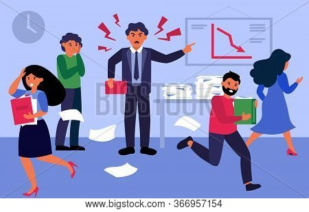 Angry Boss Shouting At People In Office Flat Vector Illustration. Cartoon Employees Working In Hurry